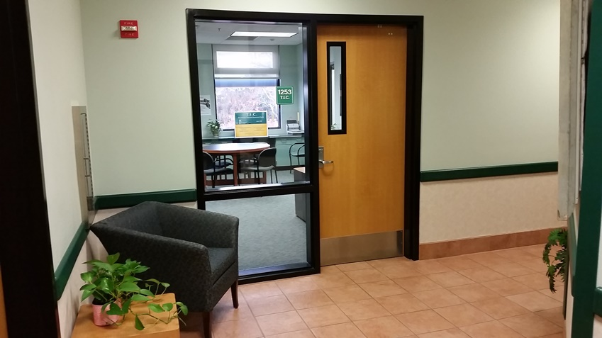 Entry to the Teaching / Technology Innovation Center on the second floor of the Library & Information Hub.