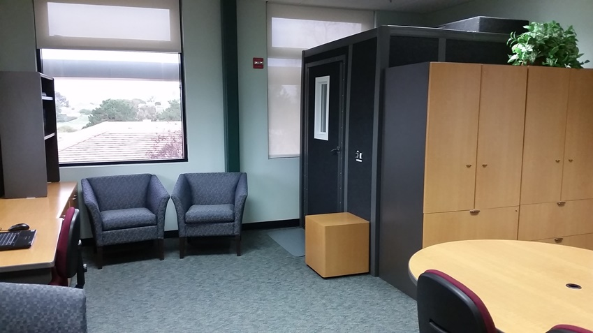 Lounge area and entry to the audio and video recording sound booth.