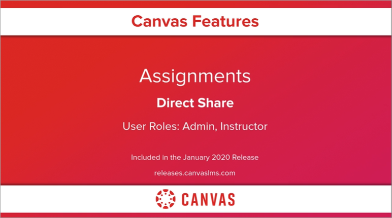 Assignments Direct Share Release Video Screencast