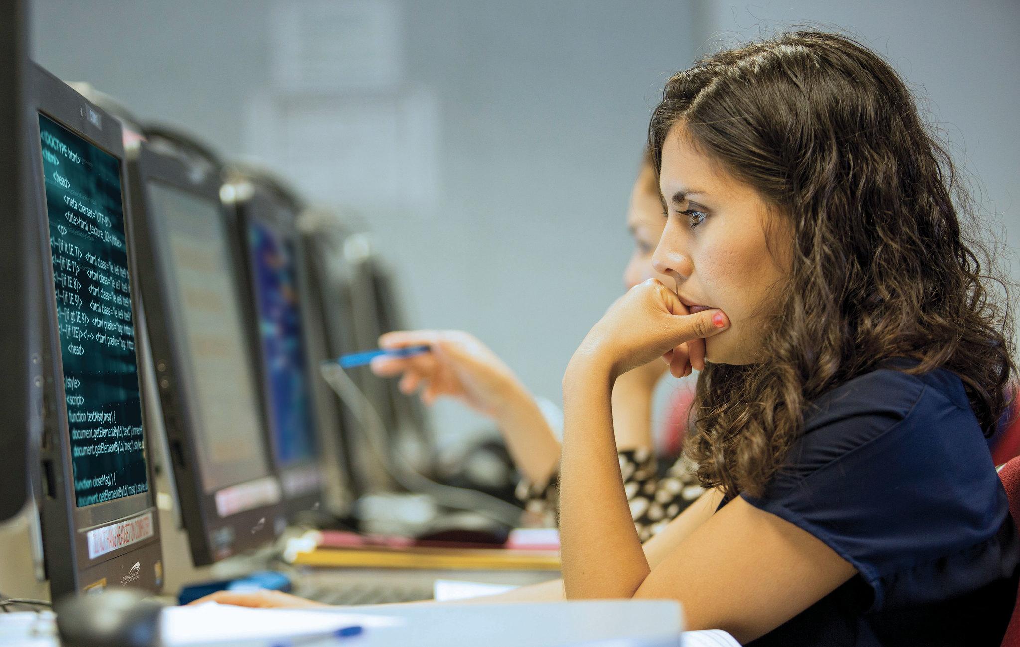 student on computer